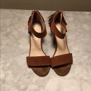 Seychelles tan heel with fringe